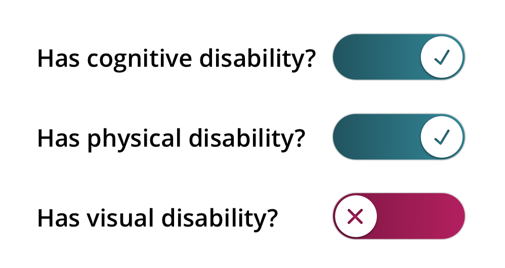 Three toggle switches for has disability, labelled cognitive, physical, and visual