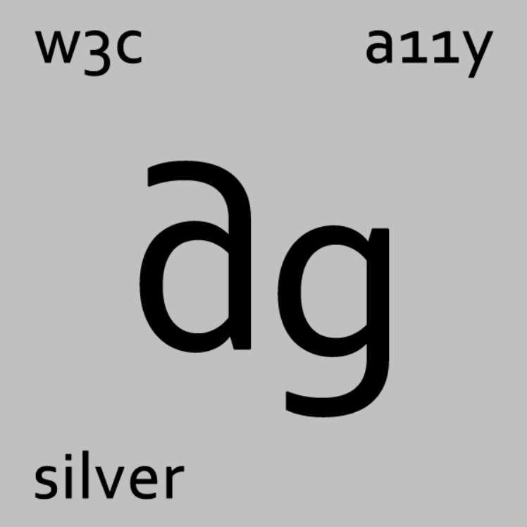 a silver square marked up like a periodic element for silver ag w3c a11y