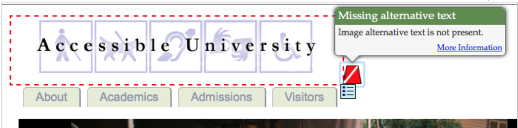 Missing Alternative Text tooltip on the Accessible University website