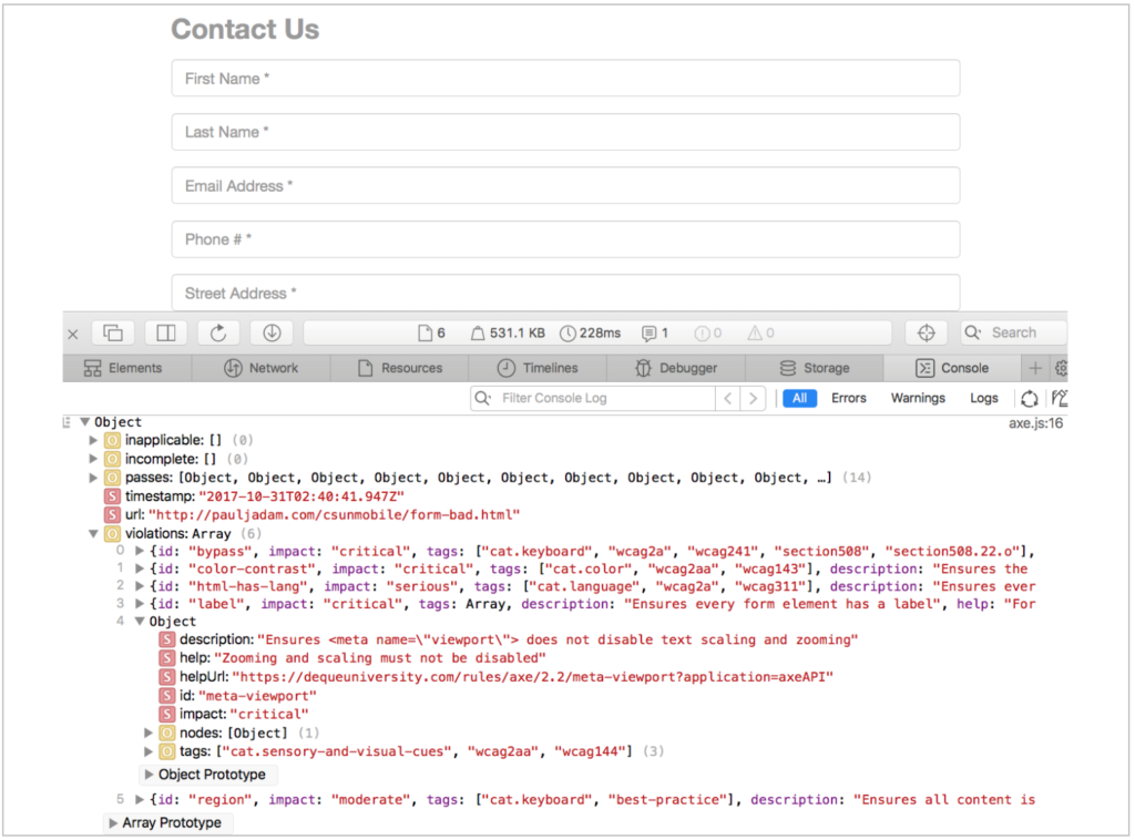 aXe results in Safari's developer console