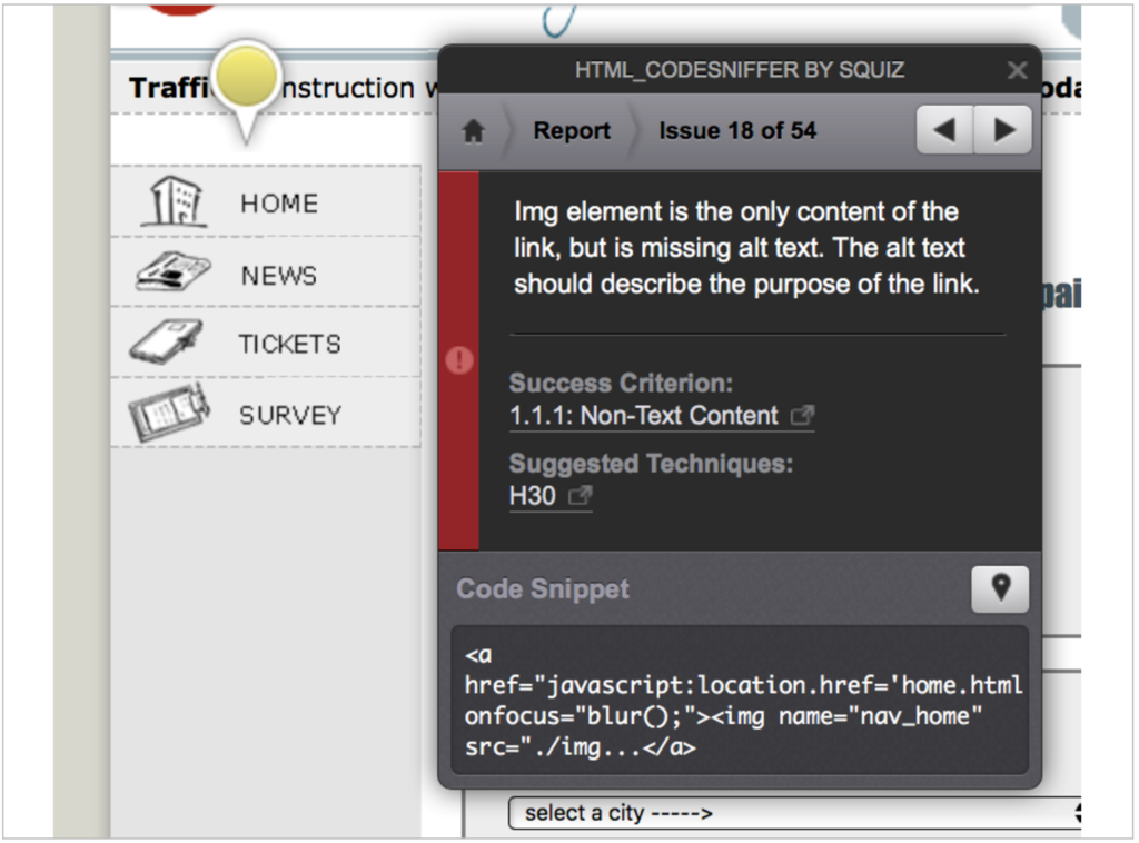 Screenshot of HTML CodeSniffer