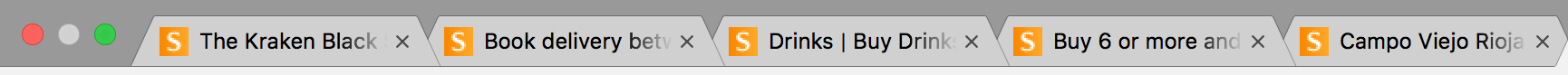 Browser tabs for five different Sainsbury's pages, all showing a few words for what each page is about.