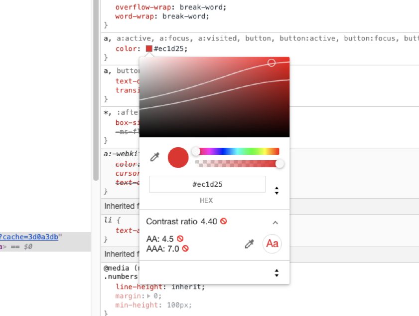Chome DevTools color inspector