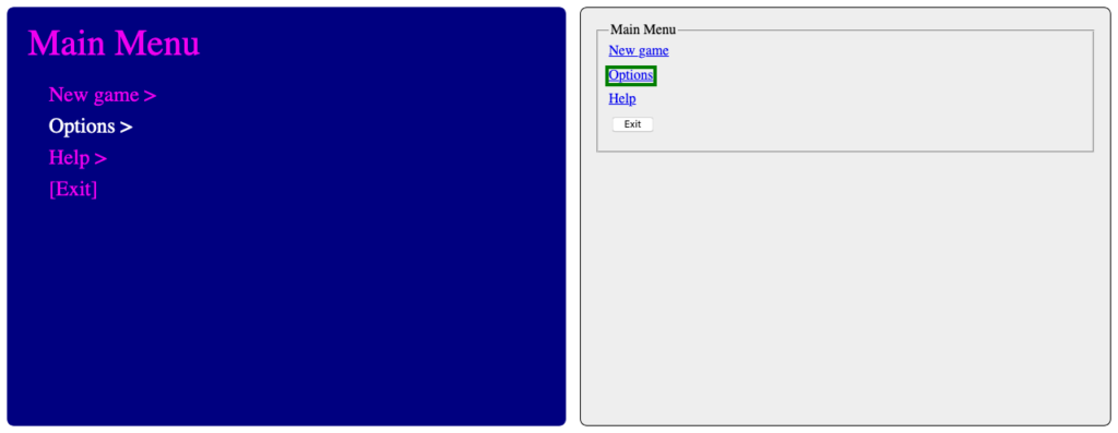 A screenshot of the same game menu and unstyled HTML fields