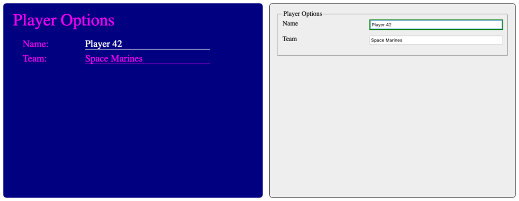 Screenshot of another styled game menu next to the same controls in unstyled HTML