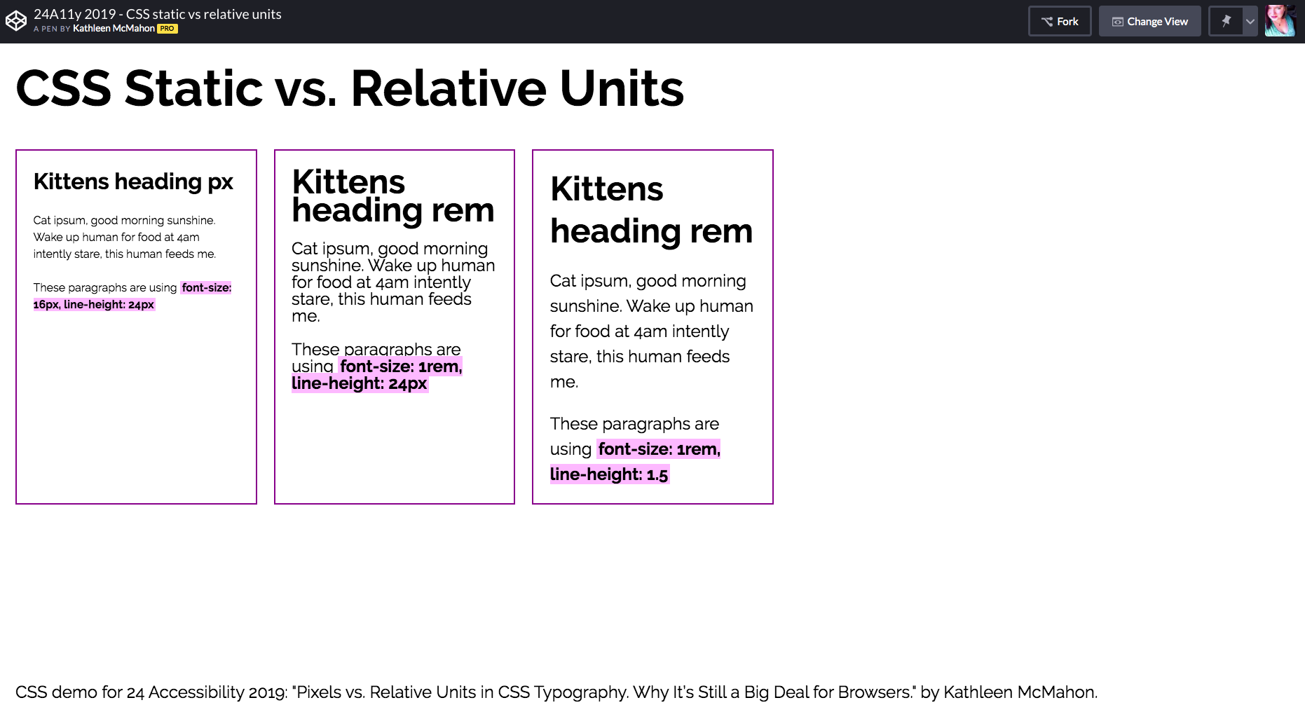 Side-by-side comparison of three blocks of text in Chrome using very large font size and 100% page zoom setting