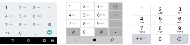Phone-number keyboard on Android, Windows 10, and iOS 10, respectively