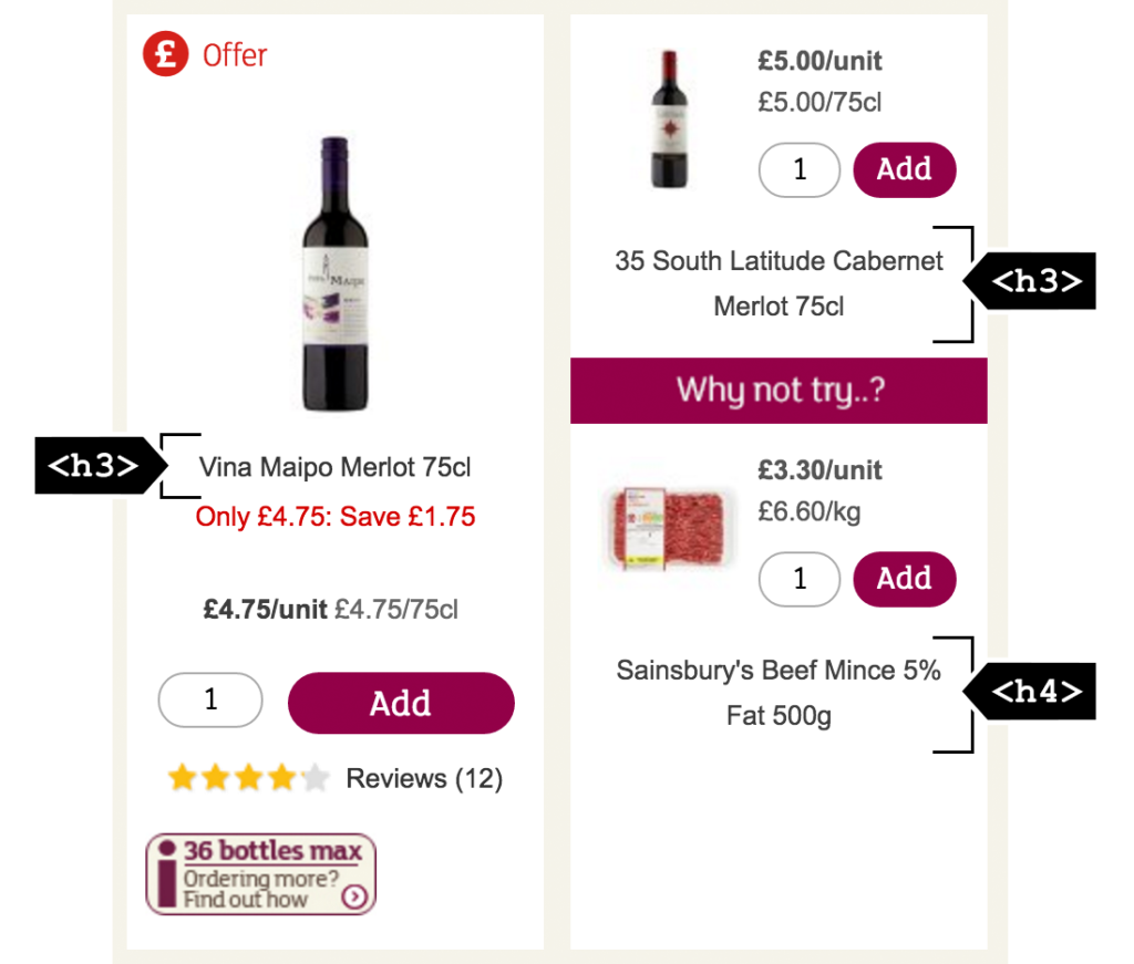 Two products on the Sainsbury's site with the product names highlighted as using the h3 element. The second product has a recommended product displayed beneath it with the product name highlighted as using the h4 element.