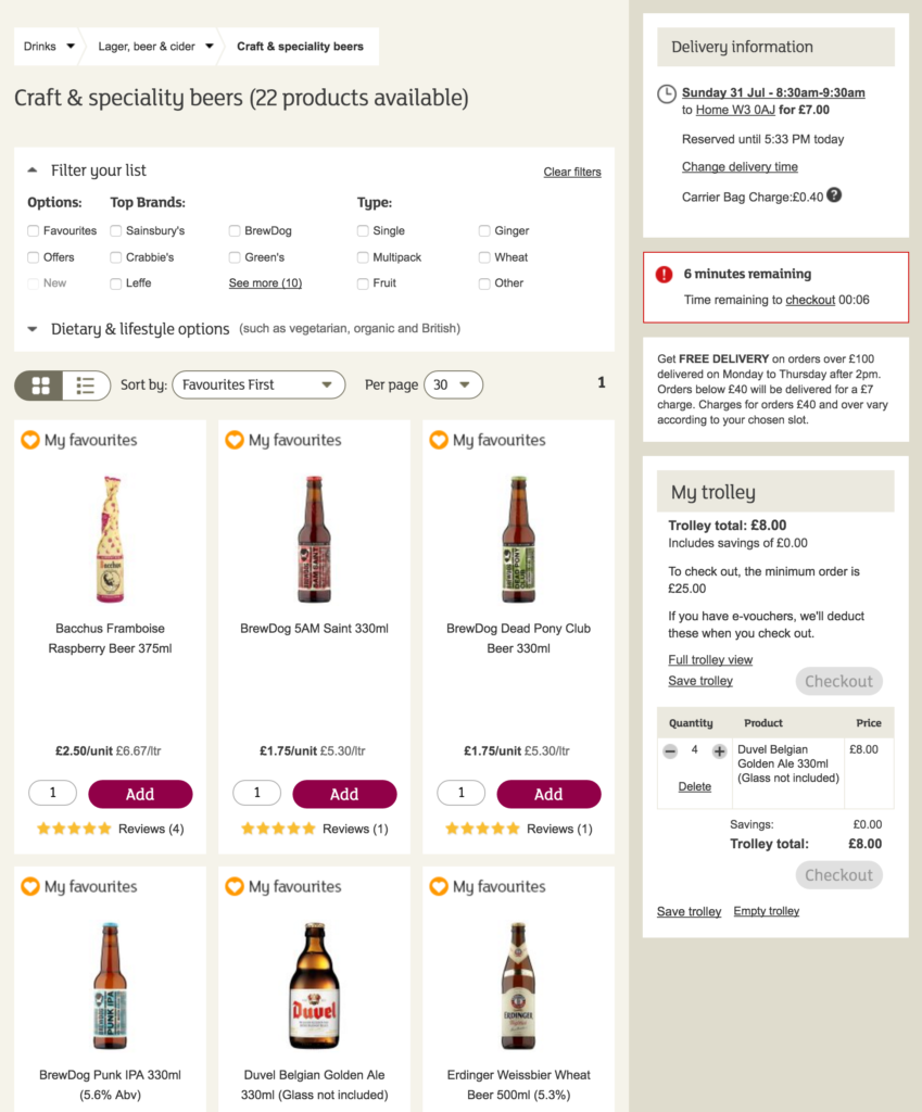 Part of the Sainsbury's product list page, showing the filter options, pagination controls, and product list.