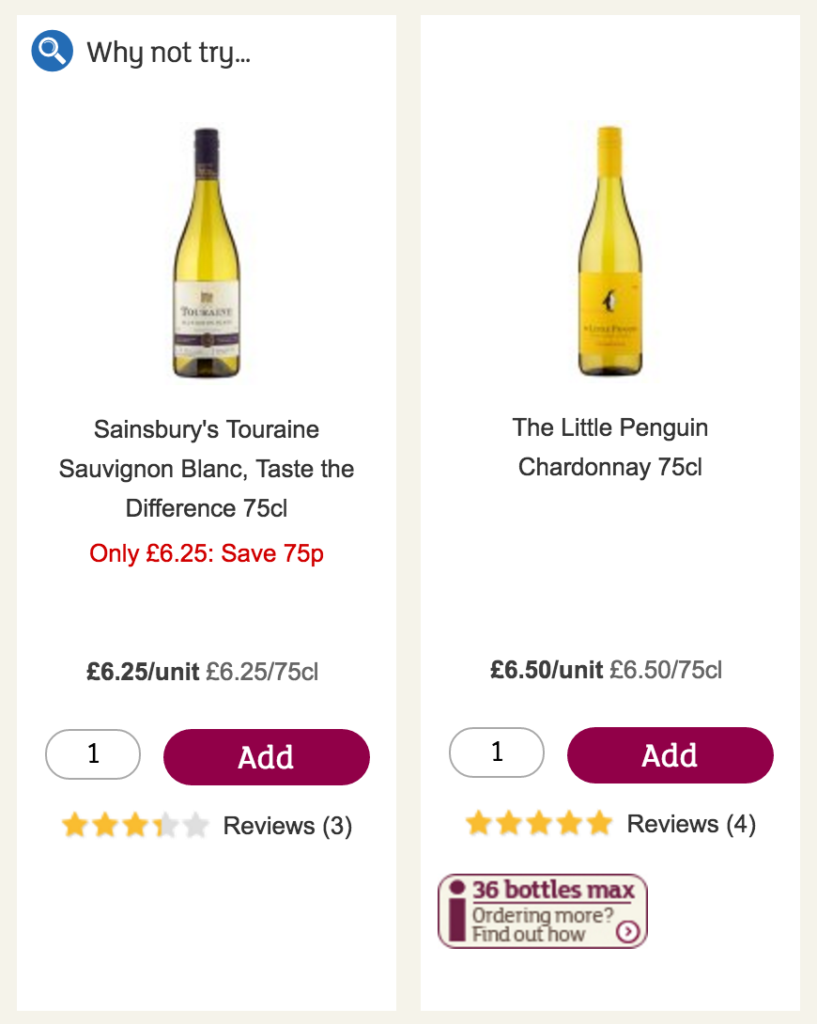 Two products on the Sainsbury's site. One is being promoted using a banner saying Why not try... at the top of the product, and the other is a non-promoted product